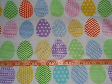 "1 yard Easter Eggs on White 100% Cotton Fabric- 44"" wide"