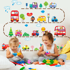 Cute Animals Car Bus Wall Sticker Removable Decals PVC Mural Kids Playroom Decor