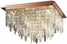 Diyas Maddison Ceiling Square 6 Light Rose Gold Crystal 28cm H x 42cm W x 42cm D