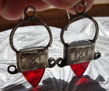 Níger tuareg Rojo empañada Mano Grabado Pendientes + diseño cruzado + Ganchos De Plata