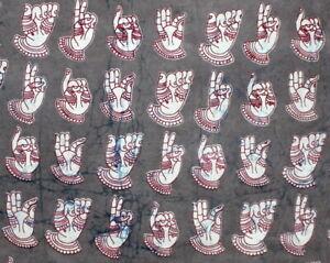 Hand Print Cotton Fabric 2.5 yard Running Fabric Natural Grey Colors Sanganeri