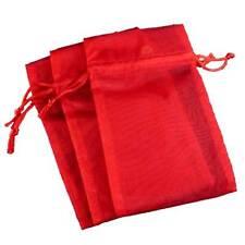 3 Pakdecorative Organza Gift Jewelry Pouches Red