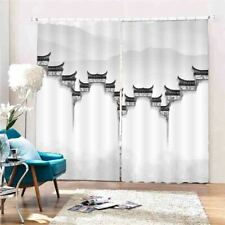 High Low Gray Walls 3D Curtain Blockout Photo Printing Curtains Drape Fabric