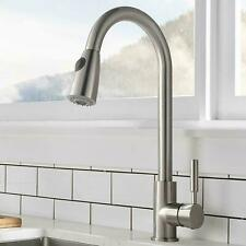 Brushed Nickel Kitchen Sink Faucet With Pull Out Sprayer Single Handle Mixer Tap