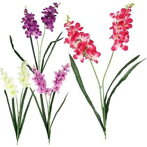 Double Stemmed Water Orchid Spray! Artificial Silk Flowers Plastic Lily Lillies