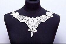 Light Cream Cotton Lace Neck Yoke Applique Floral Embroidered