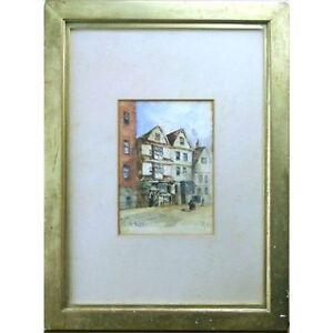 Original Signed Framed Antique King St Bristol Watercolour Painting 41 x 31 cm