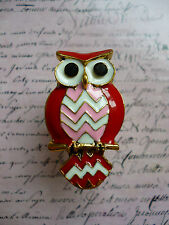 Cute Quirky Kitsch Tribal Owl Perch Red Pink Costume Jewellery Gold Ring