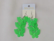 Neon Coloured Triple Butterfly Drop Earrings Neon Green New