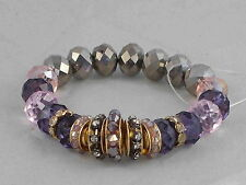 c.A.K.e. By Ali Khan Gold Purple Pink  Glass Bead Rondelle Stretch Bracelet
