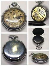Kalendarium Uhr Taschenuhr 1900-1910 Eisen Gehäuse Handaufzug Funktionsfähig