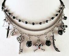 £55 Silver Black Pirate Skull Cross Charm Necklace Swarovski Elements Crystal