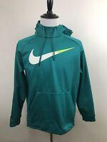 Nike Therma-Fit Mens Large Teal Aqua Swoosh Pullover Hoodie Sweat Shirt EUC