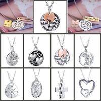 2018 New Women Silver Letter Tree Love Heart Necklace Pendant Fashion Jewelry