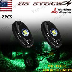 PSEQT 2pc Green Marker Grille Lights 9W Off-road Truck DIY Mount LED Light