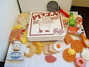 Play Food Lot 60 ~Pizza In Box, Snack Boxes, Drinks, Waffles, Egg, Toast, Butter