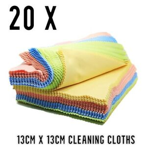 20 x Microfiber Cleaning Cloths - Glasses Cleaner Camera Phone Sunglasses Wipes