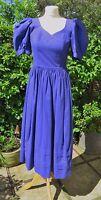 """GORGEOUS VINTAGE LAURA ASHLEY BLUE COTTON MAXI DRESS SIZE Vtg 10, UK 8 chest 32"""""""