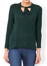 MONSOON WOMENS 'TIFFANY' TIE NECK JUMPER IN DARK FOREST GREEN *SMALL/UK 8-10*