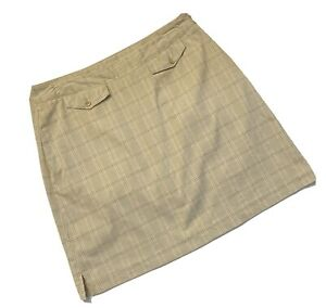 EP Pro Golf Skort Green Peach Plaid Lined Skirt Shorts Skorts Side Zip Tan Sz 10