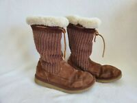 UGG Australia 5124 Suburb Knit Brown Suede Knitted Tall Boots Womens Size 8