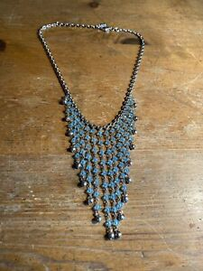 Sterling Silver 925 Necklace Blue Crystal Statement Collar Multi Strand