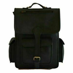 """Black Leather Backpack Men's Large 16"""" Laptop Genuine Rucksack Men's Office Bag"""