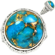 Blue Copper Turquoise 925 Sterling Silver Ring Jewelry S.7.5 BCTR396