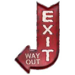 Wall Decor Metal Exit - Way Out Curved Arrow Design in Distressed Red Finish