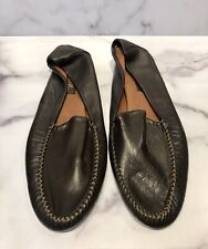 Loro Piana Brown Leather Men's Slippers Shoes