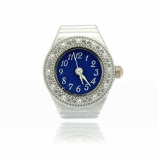 Finger Ring Ring Watch Bezel Quartz Arabic Numeral Silver blue NEW W6N8