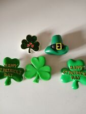 St. Patrick'S Day Plastic Pins 4 Shamrocks &1 Hat 1 Shamrock Is Hallmark 1984