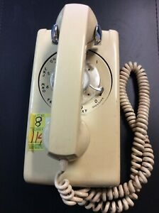 1970's Bell System Western Electric Rotary Dial Wall Phone Tan 554 Vintage