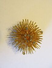 VINTAGE DIRECTION ONE big GOLD TONE WIRE & rhinestone STARBURST BROOCH PIN