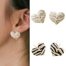 HK- Women's Zebra Crystal Rhinestone Heart Shape Ear Stud Earrings Jewelry Utili