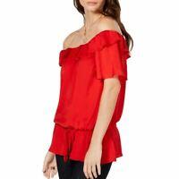 MICHAEL KORS NEW Women's Scarlet Off Shoulder Ruffle Blouse Shirt Top M TEDO