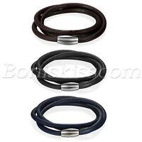 Men's Women's Multi-layer Leather Stainless Steel Magnetic Buckle Bracelet Cuff