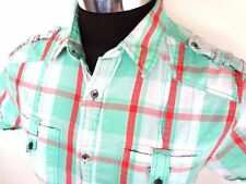 Guess Mens SS Plaid Shirt Size M Turquoise Orange Shoulder Tabs Summer VGUC Hot