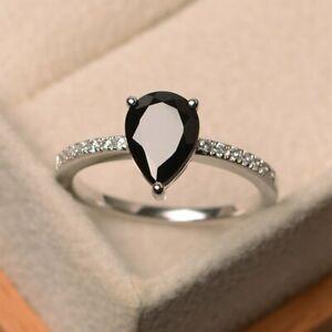 Pear Cut 9 x 7 mm Black Spinel & Diamond Engagement Ring 18K White Gold Finish