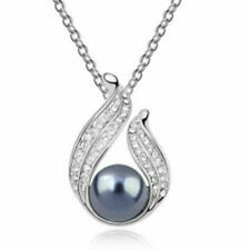 """Sterling Silver 9.5-10 mm Black Tahitian Pearl Beauty Pendant With 18"""" Chain 925"""