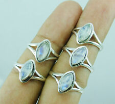 Exclusive 925 Silver Overlay Amazing Rainbow Moonstone 5 pcs Ring Lot-14