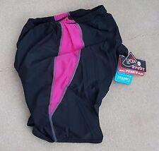 CYCLE Cycling Padded Shorts Ladies Black Pink Trim Nylon Lycra Size Medium