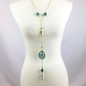 OOAK Long Statement Y-Necklace Beaded Green Gold Sparrows Crown Gothic Dangle
