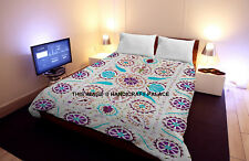 Indian Cotton Suzani Embroidered Floral Bedspreads Bed Cover Bed Sheet Coverlets