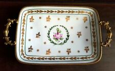 Vintage Limoges France Ormolu Gilt Hand Painted Dish Tray Trinket Brass Trim