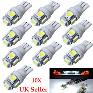 10X T10 501 W5W Car Side Light Bulbs Error Free Canbus 5 SMD LED Xenon HID White