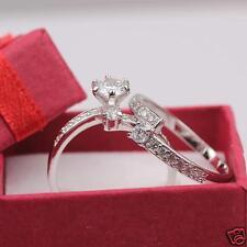 24k White Gold Filled Round Cut CZ Womens Wedding Engagement Ring Set Size8