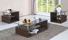 NEW 3PC SERRENTO MODERN GLASS TOP DARK OAK FINISH COFFEE END TABLE SET