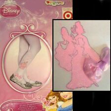 DISNEY PRINCESS PANTYHOSE Tights White Pink Glitter Bow Party Easter ~ Girl 4-6