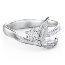 Fashion 925 Silver Heart Cut White Sapphire Mermaid Tail Inlaid Finger Ring Gift